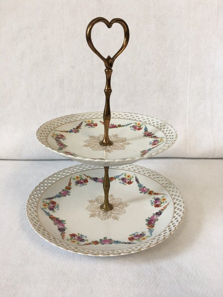 Vintage two tiered tidbit tray