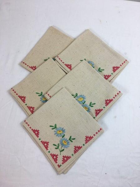 Set of 5 embroidered napkins