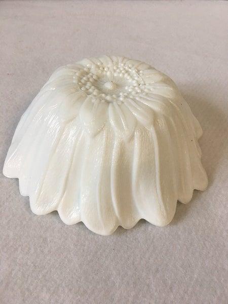 White milk glass sunflower bowl