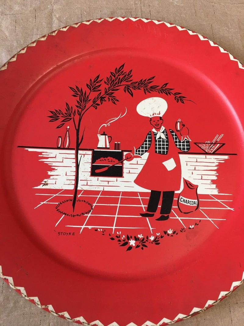 Vintage metal picnic platter