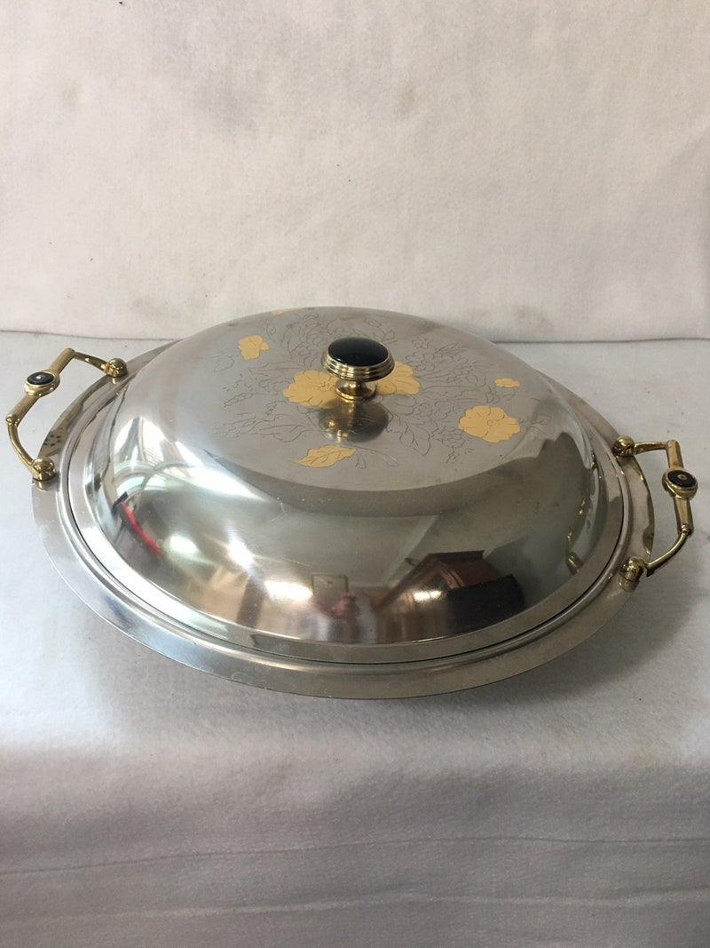 Covered silver dish