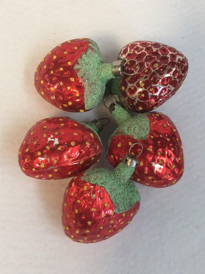 5 vintage strawberry ornaments