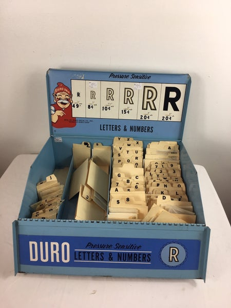 Duro metal advertising box w/letters & numbers