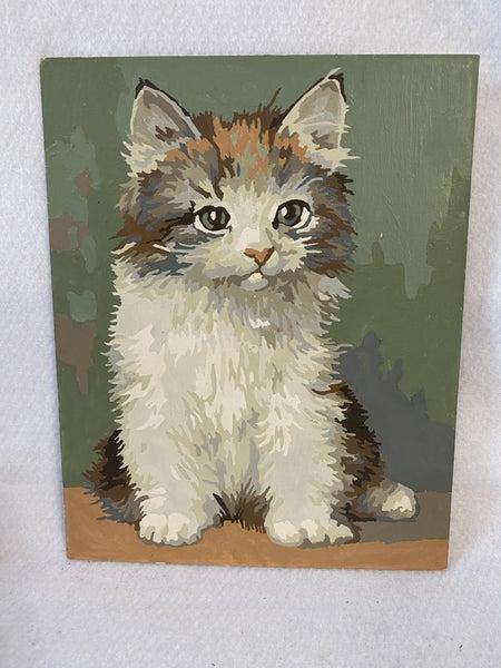 vintage kitten oil painting
