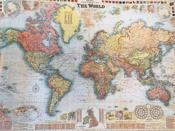 """Cavallini """"New Chart of the World"""" poster"""