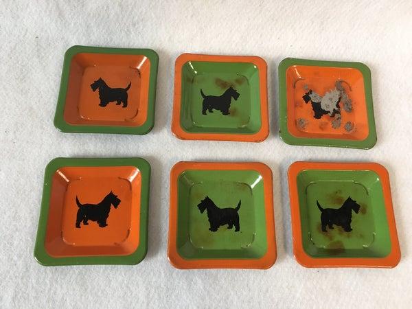 Vintage tiny metal trays with Scottie dog