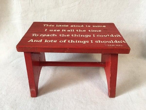 Little red stool by Gem Mfg.