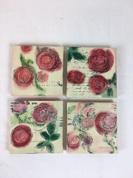 Set of 4 floral canvas art