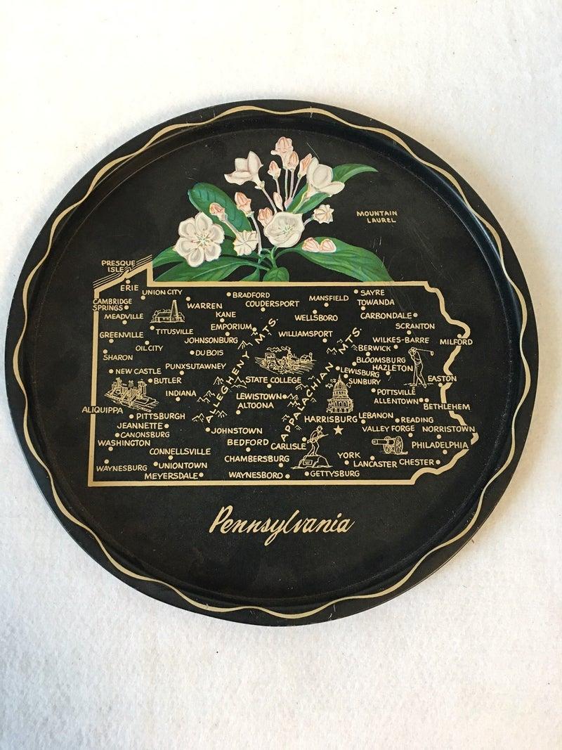Vintage metal souvenir plate, Pennsylvania