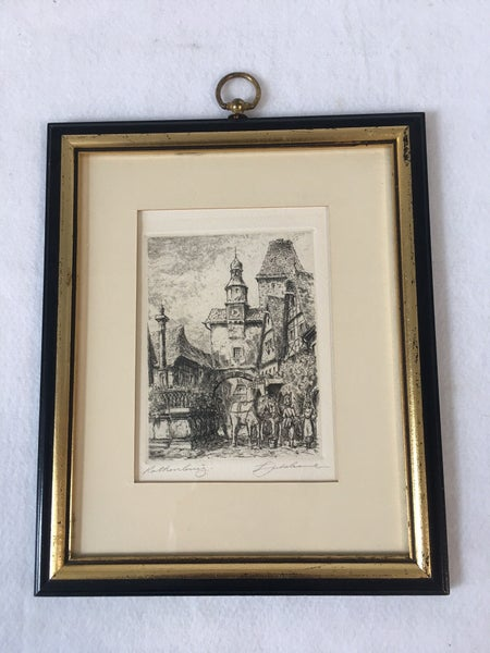 Lithograph of Rothenburg, Germany