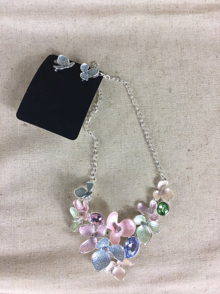 Enamel floral necklace and earrings