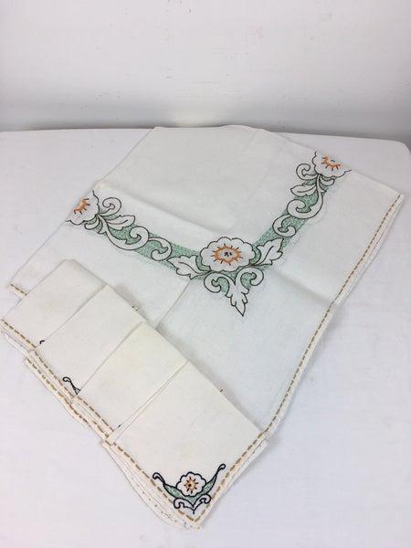 Vintage linen card table cloth & napkins *Final Sale*
