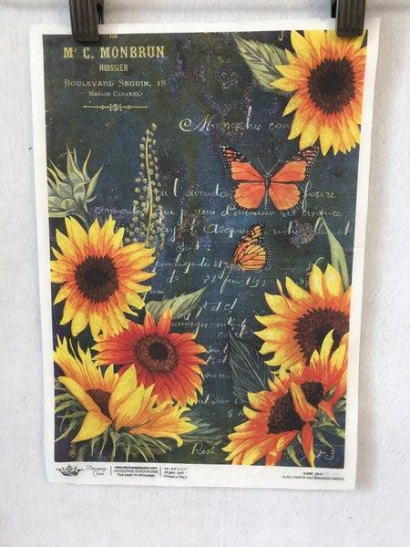 "Decoupage Queen ""Sunflower & Monarch"" rice paper"