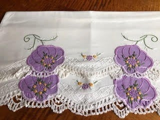 Pair of Vintage Pansy pillowcases