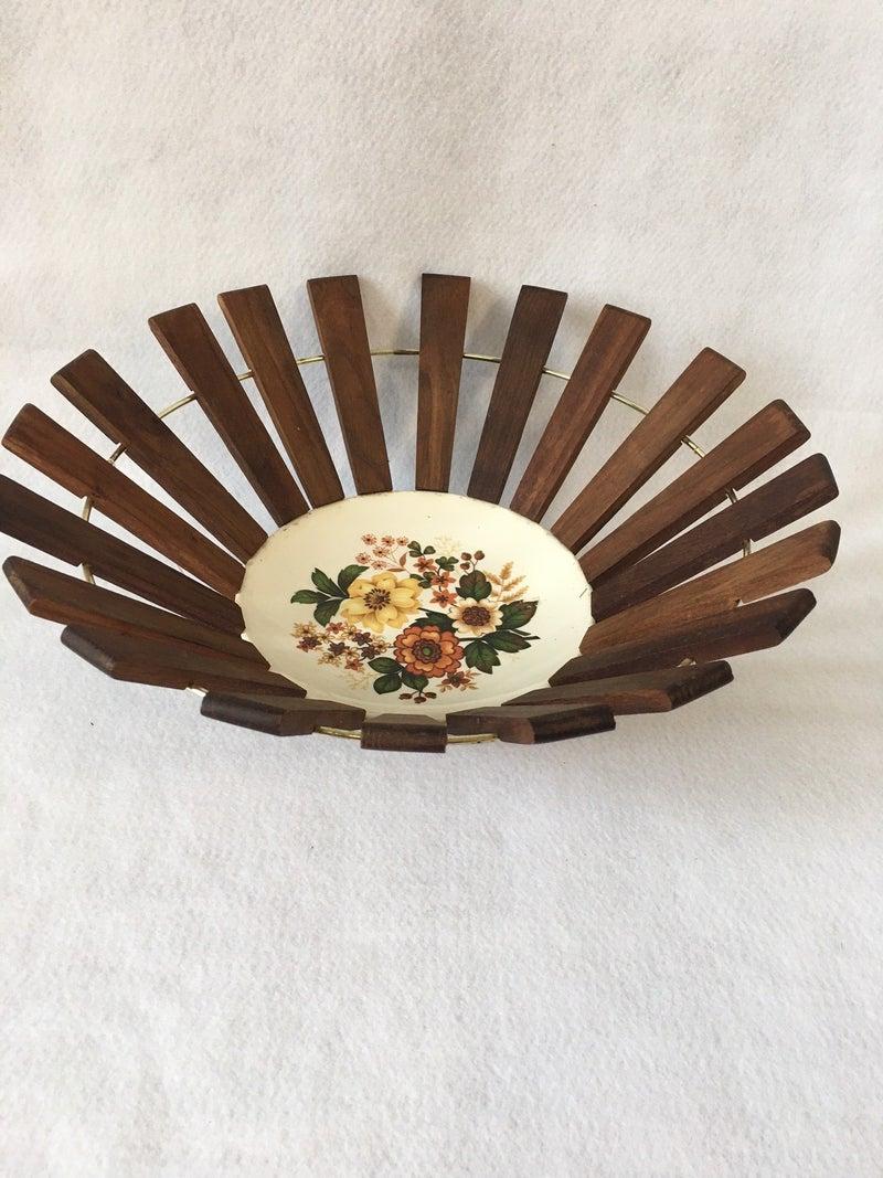 MCM glass & wood slat bowl