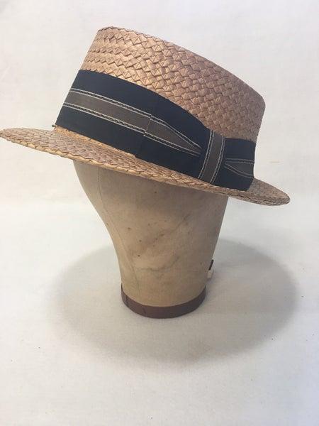 Vintage men's straw boater hat