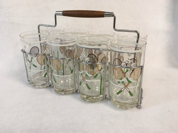 8 Vintage glasses in caddy