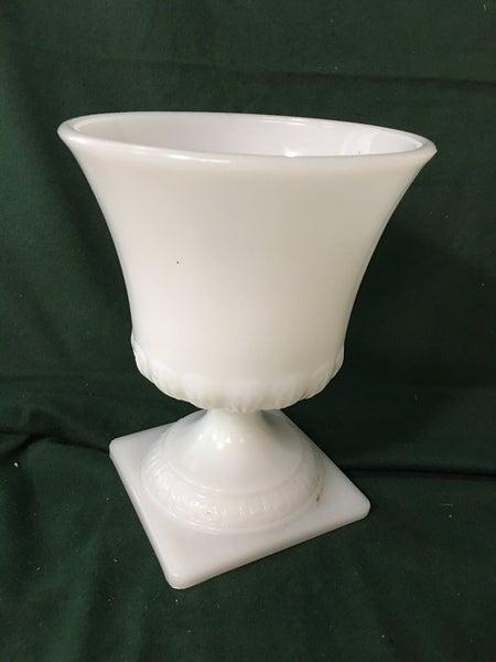 Milk glass urns by Brody