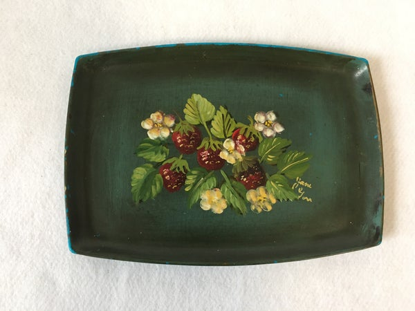 Vintage Handpainted tray with strawberries