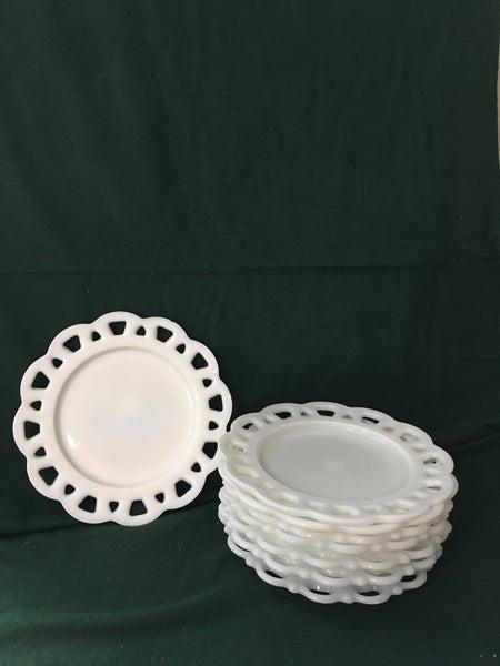 milkglass salad plates