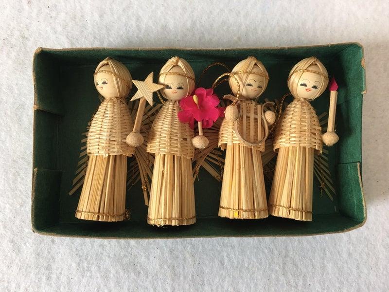 MCM straw angel ornaments