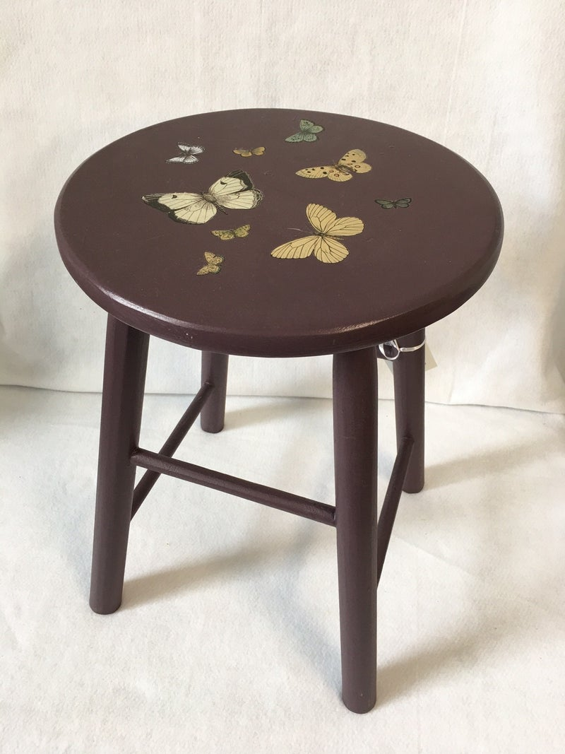 Painted stool with butterflies