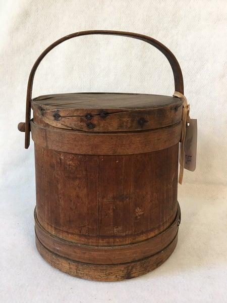 Antique Firkin wooden bucket with lid