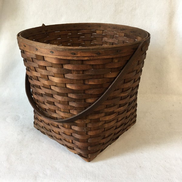 """12"""" vintage  woven basket with wooden handle"""