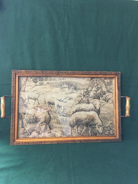 Sheep tapestry on tray