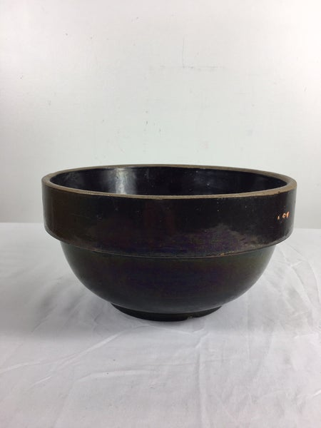 "10"" vintage brown pottery bowl"