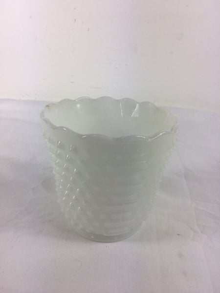 Milkglass hobnail flower pot