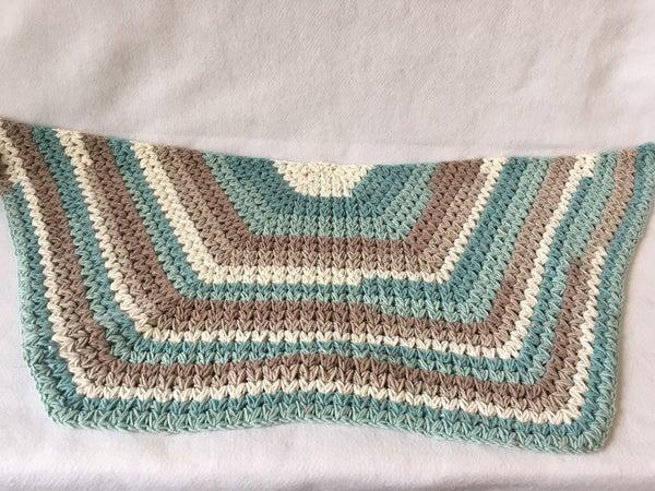 Half moon crocheted rug