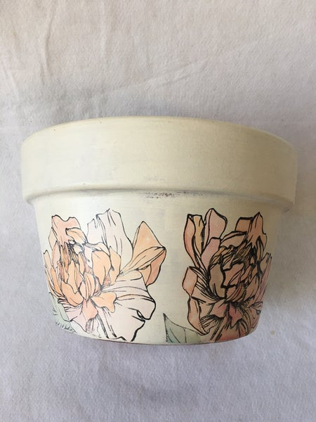 Upcycled watercolor clay pot