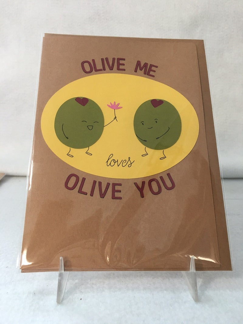 """""""Olive Me"""" handmade card from Bibury Papers"""