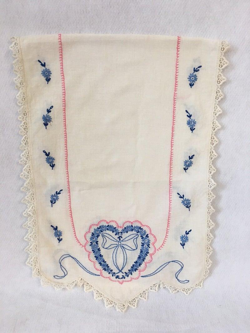 Vintage dresser scarf, blue & pink