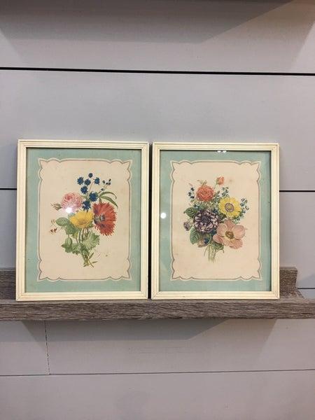 Set of two floral prints in frames
