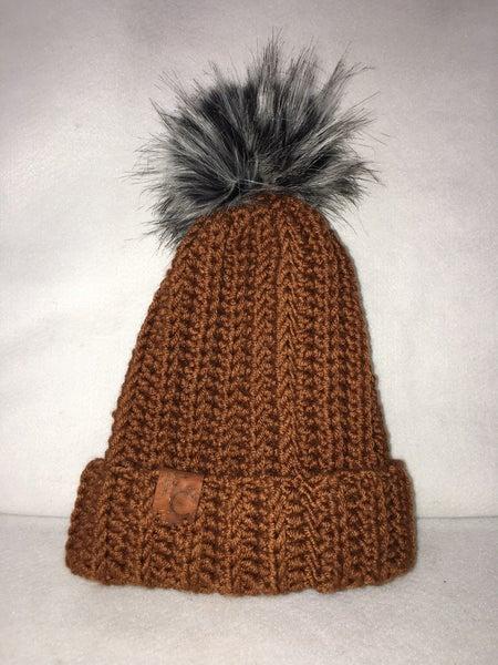 Pom pom hat adult size