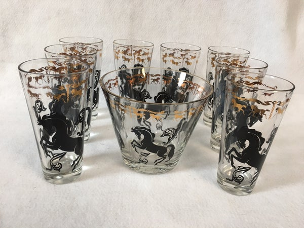 Vintage bar set with ice bucket and tumblers
