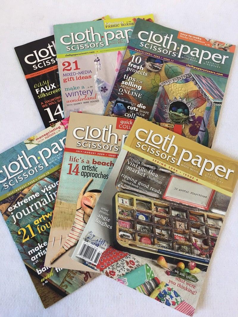 """6 vintage """"Cloth, Paper, Scissors"""" craft magazines"""