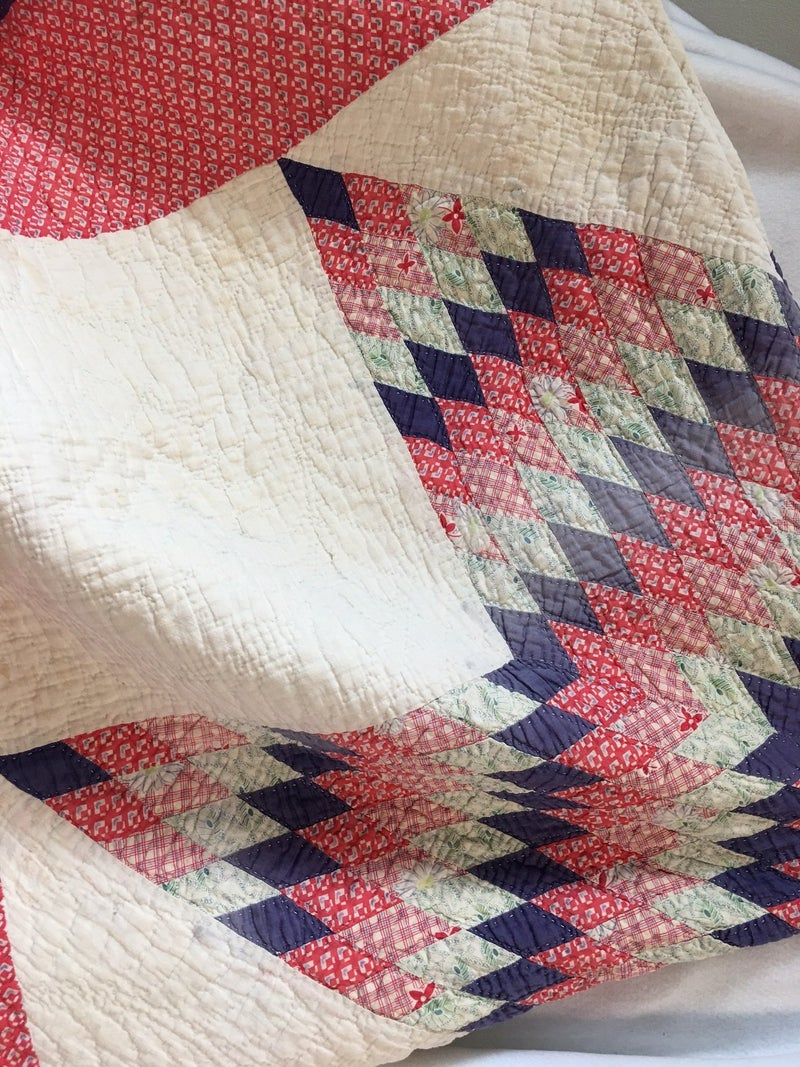 Vintage Red, white & blue Lone Star quilt