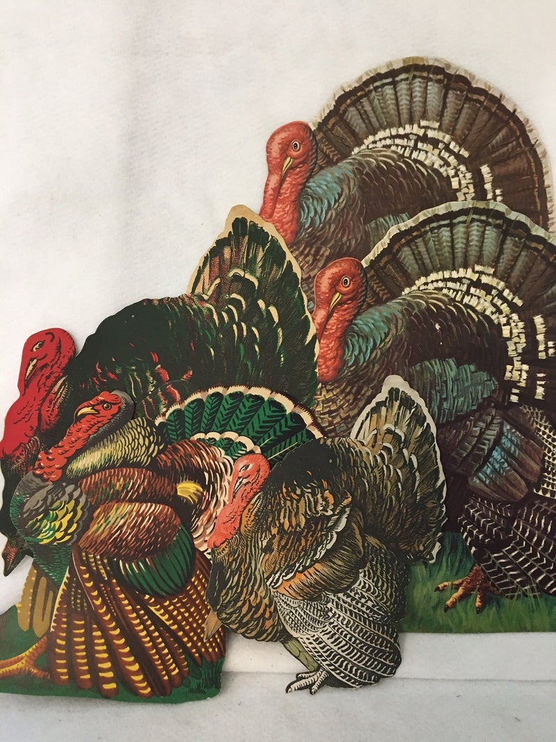 Set of 5 vintage turkey cutouts