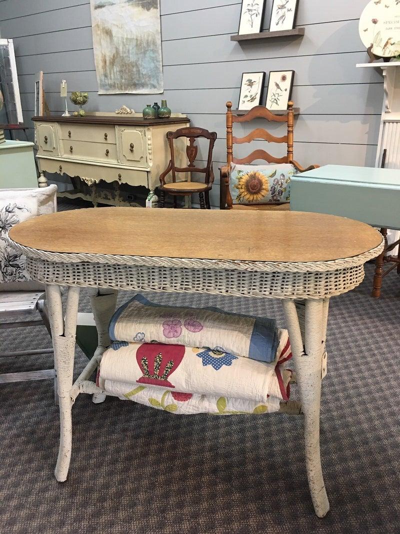 Antique Oak & Wicker oval table
