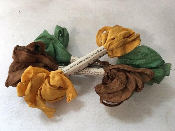 Trio of Monahan ribbons, fall colors