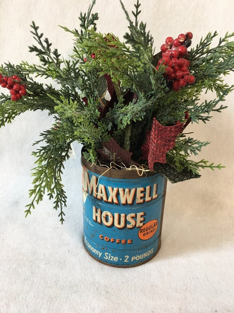 Holiday floral in large Maxwell House tin