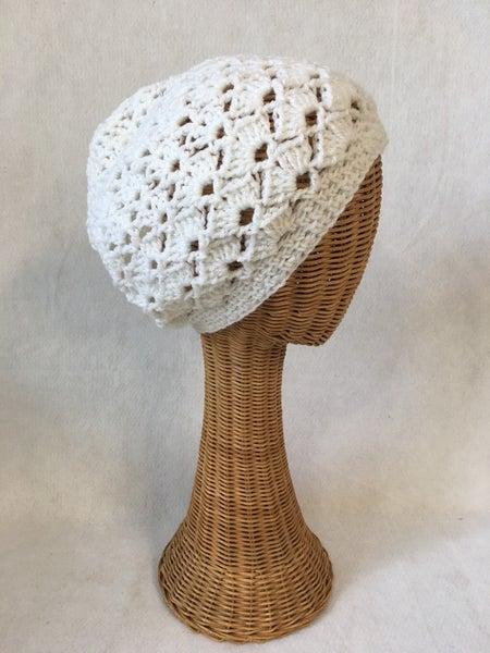 Boho white crocheted  slouchy beanie