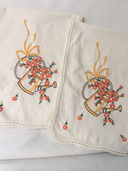 Pair of embroidered dresser scarves