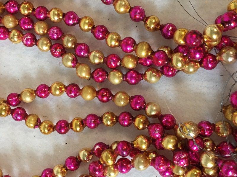 "5 30"" pink & gold Mercury glass strands"