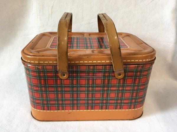 Vintage red plaid tin picnic basket