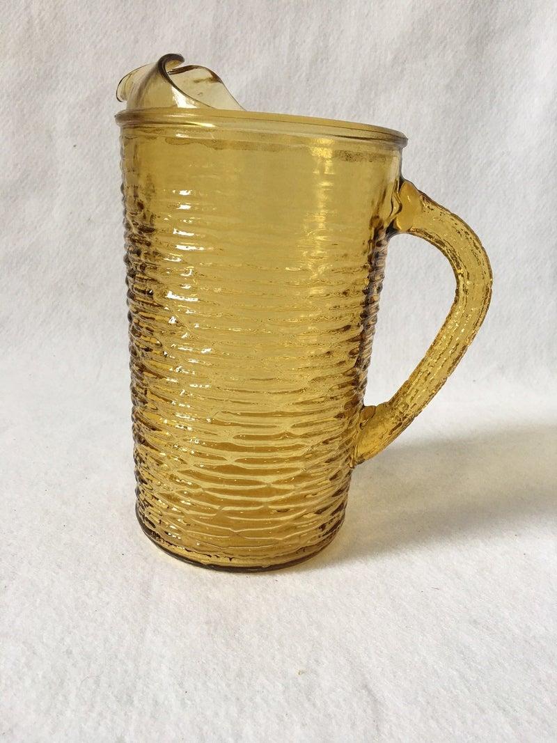 Vintage glass pitcher, bark pattern
