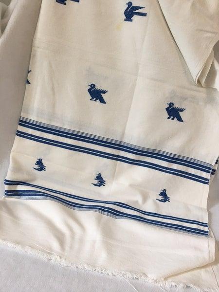 Vintage white & blue tablecloth
